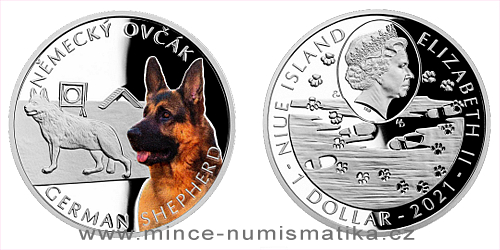 Stříbrná mince Psí plemena - Německý ovčák