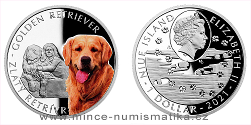 Stříbrná mince Psí plemena - Zlatý retrívr