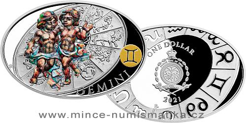 Stříbrná mince Znamení zvěrokruhu - Blíženci
