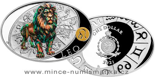 Stříbrná mince Znamení zvěrokruhu - Lev