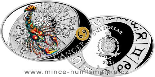 Stříbrná mince Znamení zvěrokruhu - Rak