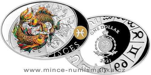 Stříbrná mince Znamení zvěrokruhu - Ryby