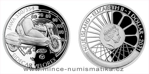 Stříbrná mince Na kolech - Motocykl JAWA 350/354 sidecar