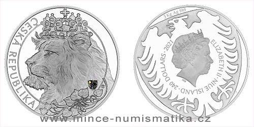 Stříbrná tří kilogramová investiční mince Český lev 2021 s hologramem