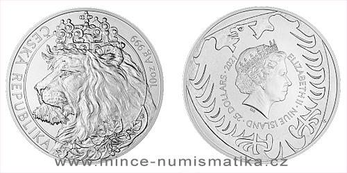 Stříbrná desetiuncová investiční mince Český lev 2021