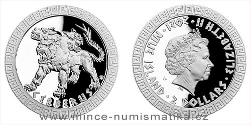 Stříbrná mince Bájní tvorové - Kerberos