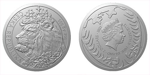 Stříbrná uncová investiční mince Český lev 2021 číslovaný obal