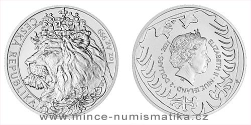 Stříbrná uncová investiční mince Český lev 2021