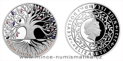 Stříbrná mince Crystal coin - Strom života Léto