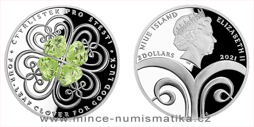Stříbrná mince Crystal Coin - Čtyřlístek pro štěstí