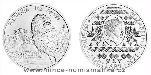 Stříbrná uncová investiční mince Orel 2021