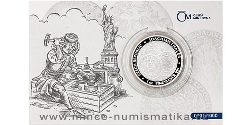 Stříbrná uncová investiční mince Tolar - Česká republika 2021 číslovaný obal