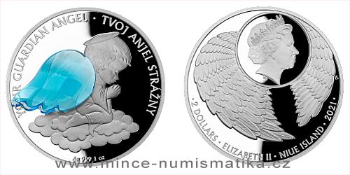 Stříbrná mince Crystal Coin - Anděl strážný SK