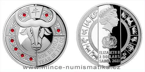 Stříbrná mince Crystal Coin - Rok buvola