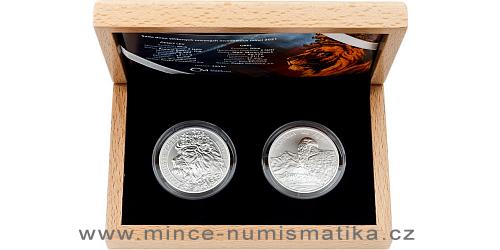Sada dvou stříbrných uncových investičních mincí Český lev a Orel 2021