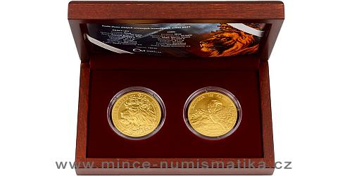 Sada dvou zlatých uncových investičních mincí Český lev a Orel 2021