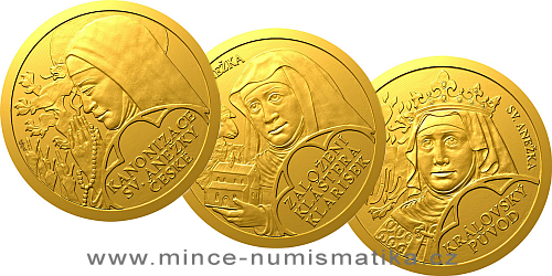 Sada tří zlatých mincí Sv. Anežka Česká