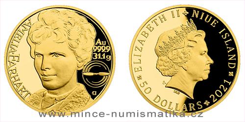 Zlatá uncová mince Osudové ženy Amelia Earhart