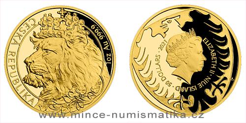 Zlatá uncová investiční mince Český lev 2021 Proof