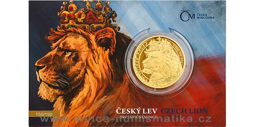 Zlatá uncová investiční mince Český lev 2021 Proof číslovaný obal