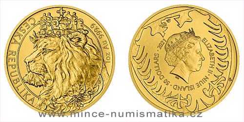Zlatá uncová investiční mince Český lev 2021