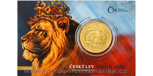 Zlatá uncová investiční mince Český lev 2021 číslovaný obal