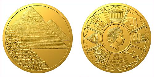 Zlatá mince Sedm divů starověkého světa - Egyptské pyramidy