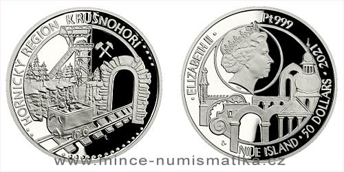 Platinová uncová mince UNESCO - Hornický region Krušnohoří