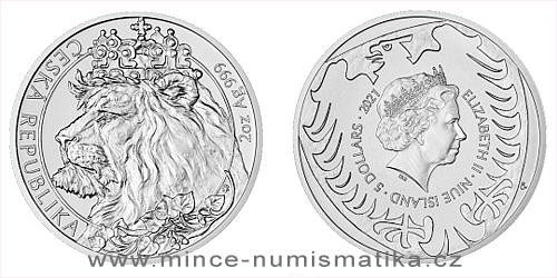 Stříbrná dvouuncová investiční mince Český lev 2021