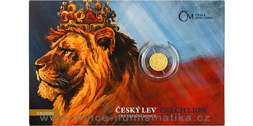 Zlatá 1/25 Oz investiční mince Český lev 2021 číslovaný obal