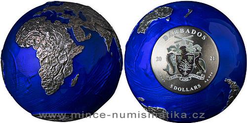 2021 - 5 $ - 3 Oz The Blue Marble Earth (planeta Země v noci) antique