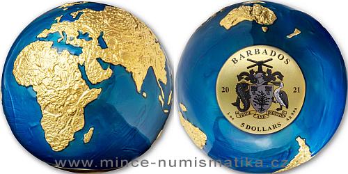 2021 - 5 $ - 3 Oz The Blue Marble Earth (modrá planeta Země) pozlaceno