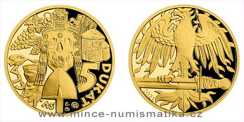 Zlatý 5-dukát sv. Václava se zlatým certifikátem 2021