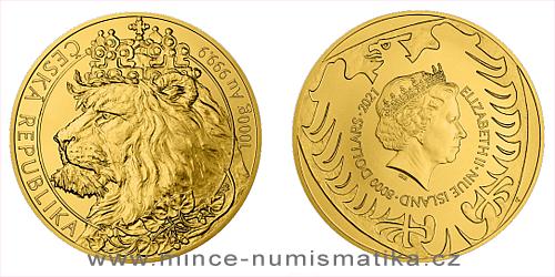 Zlatá kilogramová investiční mince Český lev 2021