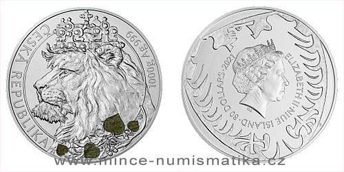 Stříbrná kilogramová investiční mince Český lev s vltavínem 2021
