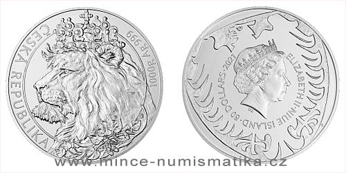 Stříbrná kilogramová investiční mince Český lev 2021