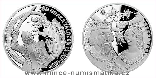Stříbrná medaile Dějiny válečnictví - Zikmund Lucemburský - Založení Dračího řádu