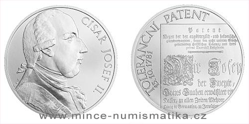 Stříbrná medaile 10 Oz Toleranční patent