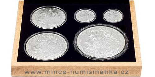 Sada stříbrných mincí Český Lev 2021 - 1oz, 2 oz, 5 oz, 10 oz, 1 kg