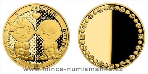 Zlatý dukát k narození dítěte 2021 s věnováním