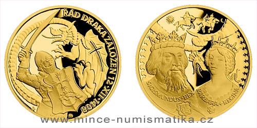 Zlatá uncová medaile Dějiny válečnictví - Zikmund Lucemburský - Založení Dračího řádu