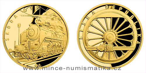 Zlatá půluncová medaile Parní lokomotiva Škoda 498 Albatros