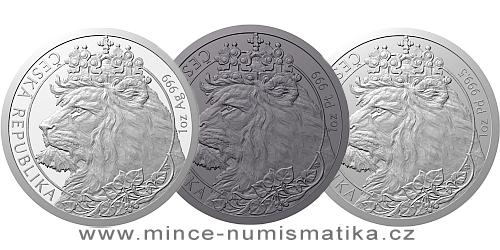 Sada tří uncových mincí Český lev 2021 - Ag/Pt/Pd