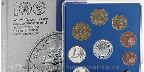 Sada oběžných mincí SR 2021 - 100. výr. začátku ražby československých mincí PROOF like v plexi