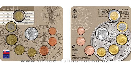 Sada oběžných mincí SR 2021 - 100. výr. začátku ražby československých mincí
