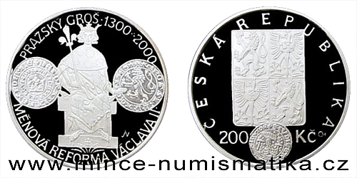 200 Kč - 700. výročí měnové reformy Václava II. a zahájení ražby pražských grošů