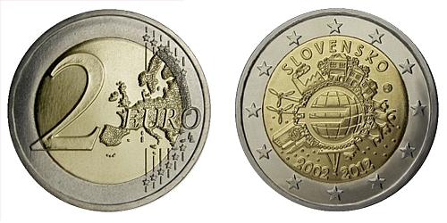 2 € - 10. výročí zavedení hotovostní eurové měny