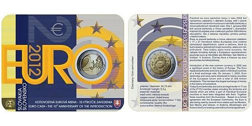 2 € - 10. výročí zavedení hotovostní eurové měny - SBĚRATELSKÁ KARTA