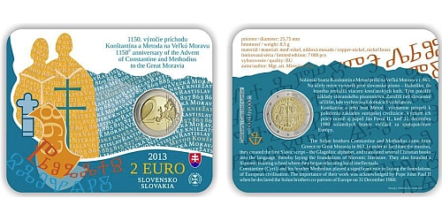 2 € - 1150. výročí příchodu Konstantina a Metoděje - SBĚRATELSKÁ KARTA