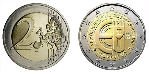 2 € - 10. výročí vstupu Slovenska do Evropské Unie